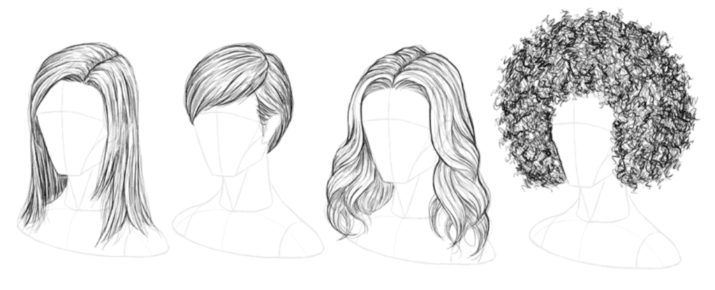 How to draw realistic wavy hair step by